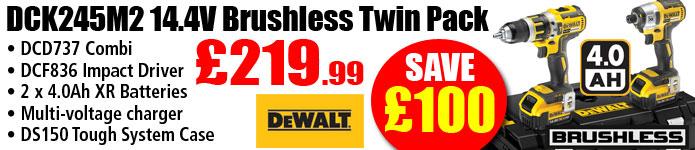 Dewalt DCK245M2 14.4V Brushless Twinpack with 2 x 4.0Ah Batteries ONLY £219.99 SAVE £100