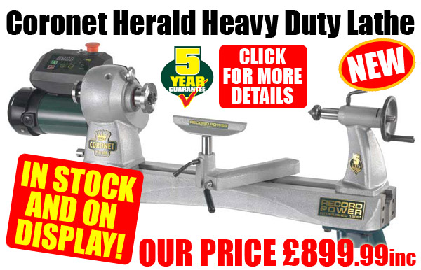 Record Power Coronet Heral Heavy Duty Lathe - NEW! IN STOCK & ON DISPLAY! Our Price £899.99inc - Click for more details