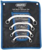 DRAPER 4 PIECE HALF MOON (OBSTRUCTION) RING SPANNER SET £14.99 Forged From Chrome Vanadium Steel Hardened, Tempered And Satin Chrome Plated For Corrosion Protection. Draper Hi-torq Ring Ends. Designed For Working In Confined Spaces. Supplied In Wallet. Sold Loose