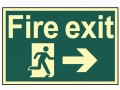 Scan Fire Exit Running Man Arrow Right - Photoluminescent 300 x 200mm £15.62 This Scan High Intensity Safety Sign Is Made From 1.3mm Thick, Rigid Material. It Is Printed Using Uv Resistent Inks, Which Resist Fading. The Background Of This Sign Is Photoluminescent, Which Means