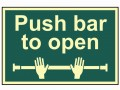 Scan Push Bar To Open - Photoluminescent 300 x 200mm £15.62 This Scan High Intensity Safety Sign Is Made From 1.3mm Thick, Rigid Material. It Is Printed Using Uv Resistent Inks, Which Resist Fading. The Background Of This Sign Is Photoluminescent, Which Means