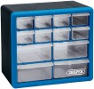 DRAPER 12 Drawer Organiser �10.99 Impact-resistant Plastic Ideal For Use In The Workshop Or Home. Latching Facility To Prevent Drawer Fall Out. Slotted Holes In Cabinet To Facilitate Wall Mounting. Shrink Wrapped With Display Sleeve.
