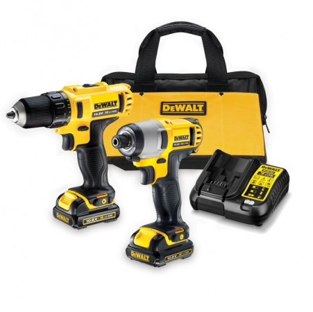 DEWALT DCK211C2 Twin Pack Kit  10.8 Volt 2 x 1.3Ah Li-Ion, Charger & Kit Bag