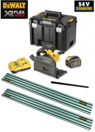 Dewalt DCS520T2 54V XR FLEXVOLT Cordless Plunge Saw - 2 x Batteries And Fast Charger & 2 x 1.5m Rails & Connector
