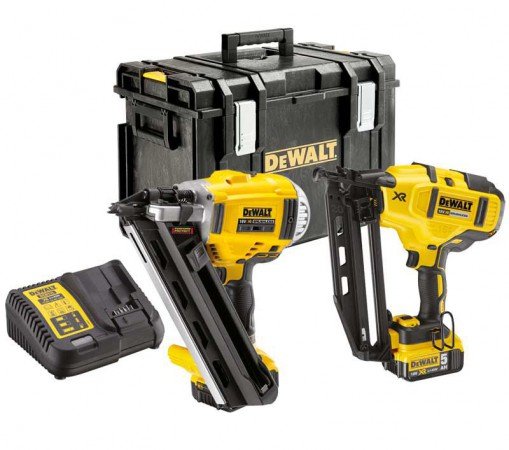 Dewalt DCK264P2 TWIN KIT - 18V XR 1st Fix Framing Nailer, 2nd Fix Nailer, 2 x 5.0Ah Batteries, Charger & DS400 Kit Box