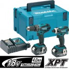 Makita DLX2012MJ 18V LXT Twin Pack Combi Drill & Impact Driver With 2 x 4.0Ah LI-ion Batteries & MakPac Case �264.95