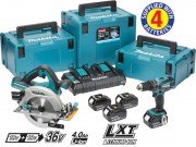 Makita DLX2084PMJ 36V (2 x18V) LXT DHS710 & DHP456 (4x18v 4.0Ah) Twin Port Charger & 3 x MakPac Cases  �439.00