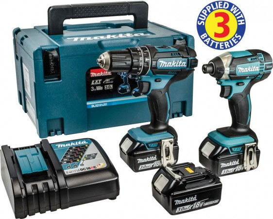 Makita DLX2131JX1 18V LXT 2-Piece Combi Kit, DHP482 & DTD152 3 x 3.0Ah Batteries, Charger & MakPac Case
