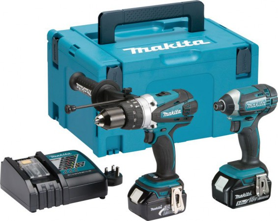 Makita DLX2145TJ 18V Twin Pack DHP458Z & DTD152Z 2 x 5.0Ah Li-ion Batteries, Charger & MakPac Case