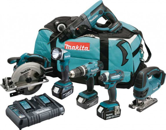 Makita DLX6068PT 18V LXT 6 Piece Kit  With 3 x 5.0Ah Li-Ion Batteries, Dual Port Charger