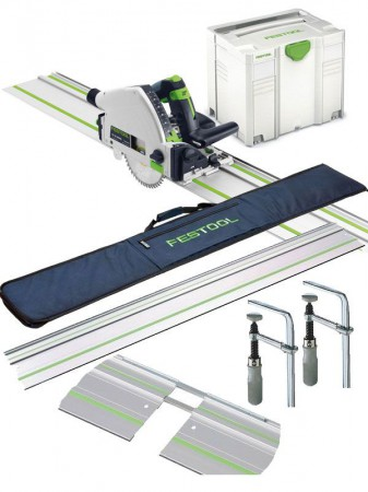 FESTOOL 561583 TS55REBQ-PLUS-FS 240V PLUNGE SAW + SYSTAINER + 2 x 1.4M RAILS, 2 x CONNECTORS, PAIR OF CLAMPS  & RAIL BAG