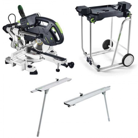 Festool 575340 240V KAPEX KS60E-Set/XL-UG GB Sliding Compound Mitre Saw With R/L Trimming Attachments & UG Underframe St