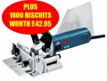 BOSCH GFF22A 240V BISCUIT JOINTER PLUS 1,000 BISCUITS WORTH �42.95 £319.95 Bosch Gff22a 240v Biscuit Jointer