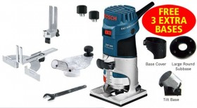 BOSCH GKF 600 240V 600W 1/4IN PALM ROUTER + 3 EXTRA BASES