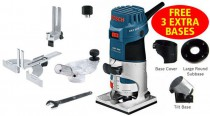 BOSCH GKF 600 240V 600W 1/4IN PALM ROUTER + 3 EXTRA BASES £159.95