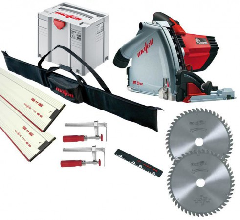 Mafell MT55CC 240v Plunge Saw with 2 X 1.6m Guide Rails  + Connector + 2 X  Clamps & Rail Bag & Extra Blade Worth £59.99