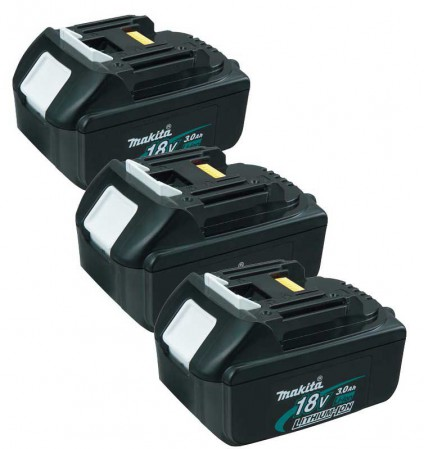 MAKITA 194204-5 3 x 18VOLT 3.0Ah LITHIUM-ION BATTERY (PACK OF 3)