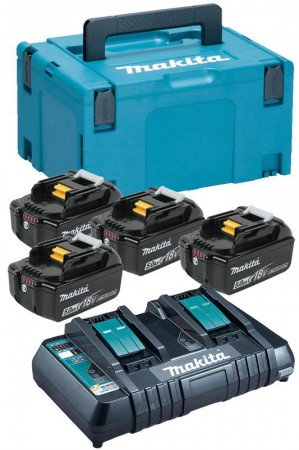 Makita 197627-6 18v 4 x 5.0Ah Batteries With Twin Port Charger & MakPac Case3