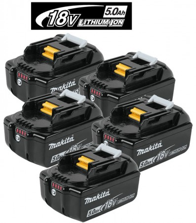 Makita BL1850B 18V 5.0Ah Li-ion Battery Pack With LED Battery Indicator (PACK OF 5)