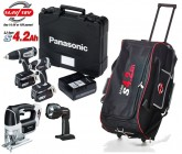 PANASONIC EYC200LS2G31 18V 4.2Ah Li-ion DRILL DRIVER & IMPACT DRIVER TWIN PACK & JIGSAW, TORCH & ROLLER BAG �519.95