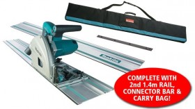 MAKITA SP6000K1 240V 165MM PLUNGE SAW, CARRY CASE WITH 2 x 1.4M RAILS & CONNECTOR BAR & RAIL CARRY BAG �329.00
