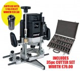 TREND T11EK 240V 2000W  VARI- SPEED ROUTER + 35pc CUTTER SET WORTH £79 & 1/4INCH COLLET FREE! £359.95
