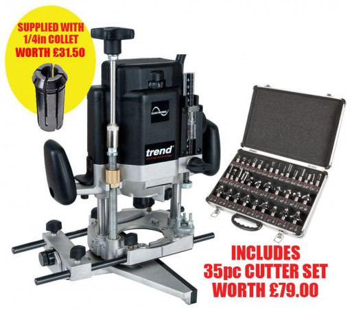TREND T11EK 240V 2000W  VARI- SPEED ROUTER + 35pc CUTTER SET WORTH £79 & 1/4INCH COLLET FREE!