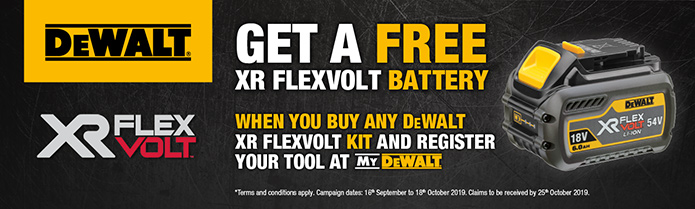 Claim a FREE Dewalt FLEXVOLT Battery with selected tools