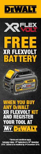 Dewalt FREE XR Flexvolt Battery offer - click for details