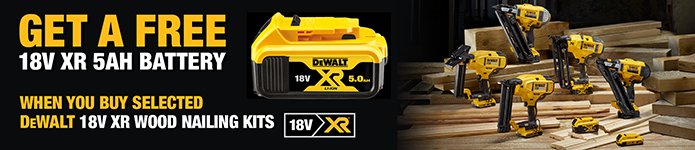 Get a Free Dewalt 18V 5Ah Battery with selected 18V XR Nailing Kits