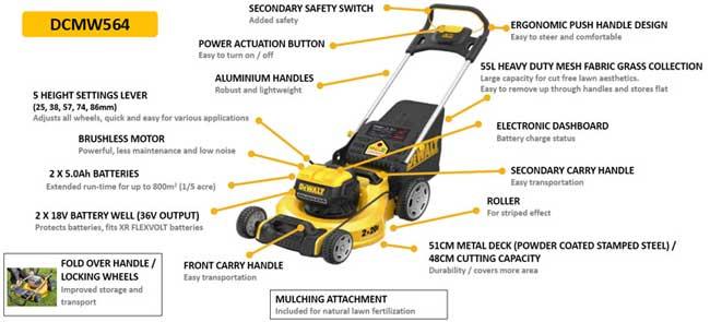 Dewalt Dcmw564p2-gb 2 X 18v Xr Brushless 48cm Lawn Mower With 2 X