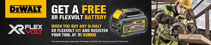Get a FREE Flexvolt Battery with selected Flexvolt Kits - Click for details
