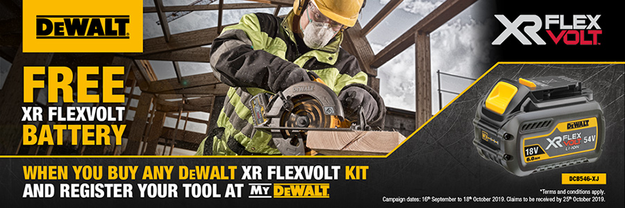 Dewalt FREE Battery with XR Flexvolt Kits - Click for more details