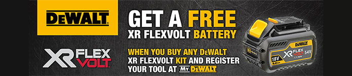 Get a FREE Dewalt Flexvolt Battery with selected kits - Click here