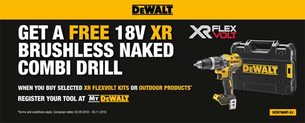 Dewalt - Get a FREE18V XR Brushless Combi Drill with these selected XR Flexvolt Kits and Outdoor Products - Click Here