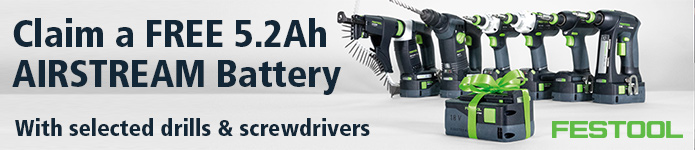 Claim a FREE 5.2Ah Festool Airstream Battery with selected tools - Click Here