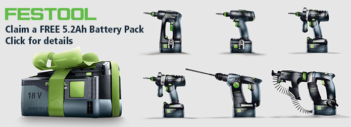 Festool Battery Promo Autumn 2019 - Claim a Free battery - click here