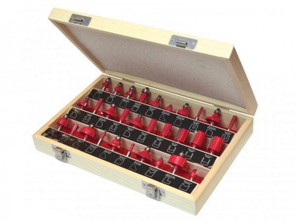 Faithfull TC Router Bit Set 30pc 1/4 Shank  In Carry Case