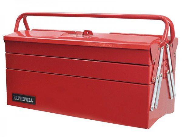 Faithfull Metal Cantilever Tool Box 17in 5 Tray