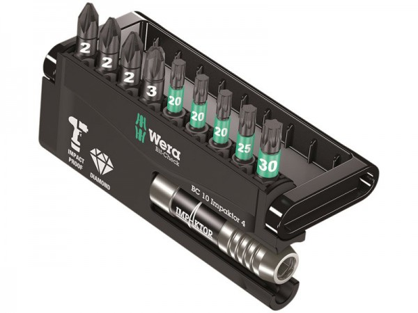 Wera Bit-Check 10 Impaktor 4 TriTorsion Set of 10 PZ TX