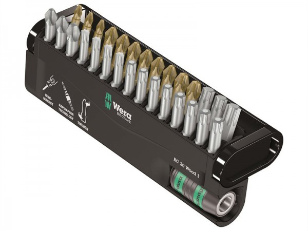 Wera Bit-Check 30 Wood 1 Torsion Set of 30 PZ PH TX