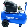 DRAPER 50L 230V 1.5kW Air Compressor £164.95 Features: Suitable For Workshop And Site Use, Thermal Motor Protection Overload, On/off Pressure Switch, Pressure Regulator And Pressure Gauge, Wheels And Transport Handletank Size   50