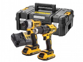 Dewalt DCK2059D2T 18V XR Brushless Drill/Driver & Impact Driver Twin Pack 2 x 2.0Ah Batteries, Charger & T-Stak Case £179.95