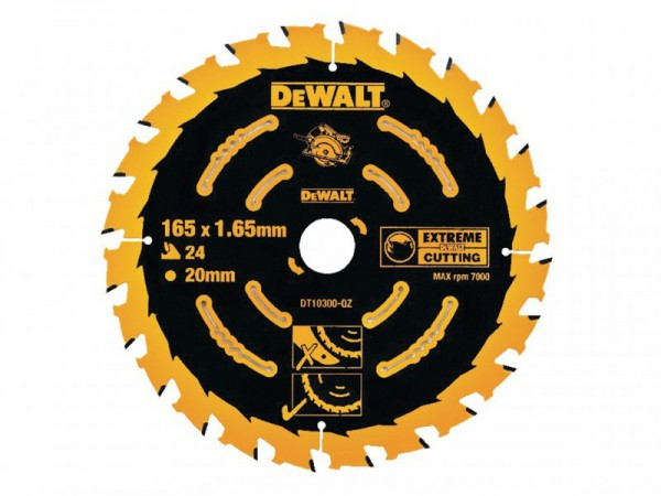 DEWALT Circular Saw Blade 165 x 20mm x 24T Corded Extreme Framing