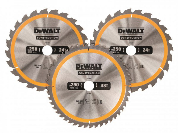 DEWALT DT1963 Construction Circular Saw Blade 3 Pack 250 x 30mm x 24T/48T