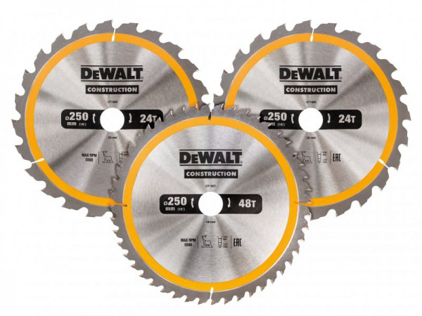 DEWALT DT1964 Construction Circular Saw Blade 3 Pack 305 x 30mm x 24T/48T/60T