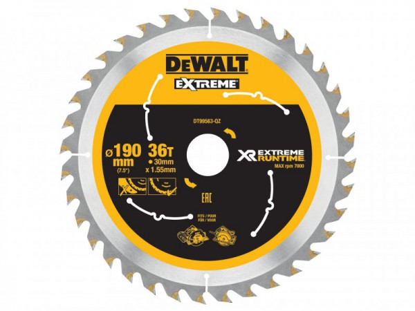 DEWALT FlexVolt XR Circular Saw Blade 190mm x 30mm 36T For DCS575