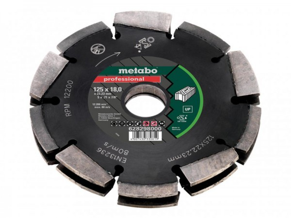Metabo 2 Row Professional UP Universal Wall Chaser Blade 125 x 18 x 22.23mm