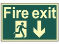 Scan Fire Exit Running Man Arrow Down - Photoluminescent 300 x 200mm £15.62 This Scan High Intensity Safety Sign Is Made From 1.3mm Thick, Rigid Material. It Is Printed Using Uv Resistent Inks, Which Resist Fading. The Background Of This Sign Is Photoluminescent, Which Means