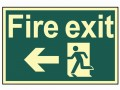 Scan Fire Exit Running Man Arrow Left - Photoluminescent 300 x 200mm £15.62 This Scan High Intensity Safety Sign Is Made From 1.3mm Thick, Rigid Material. It Is Printed Using Uv Resistent Inks, Which Resist Fading. The Background Of This Sign Is Photoluminescent, Which Means